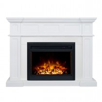 "Hudson 2000W Electric Fireplace Heater White Mantel Suite with 30"" Moonlight Insert"