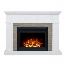 "Hudson 2000W Electric Fireplace Heater Stone Veneer Mantel Suite with 30"" Moonlight Insert"