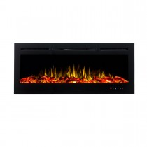 Provence 1500W 50 inch Recessed / Wall Mounted Electric Fireplace - Woodlogs & Pebbles