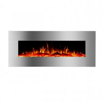"""Valencia 1500W 50"""" Recessed / Wall Mounted Electric Fireplace - Woodlogs & Pebbles - Bluetooth Speaker"""