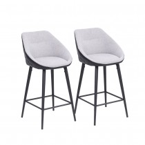 Boxton Bar Stool (Set of 2) - Grey Fabric Black Legs