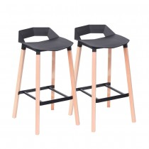Ruby Bar Stool (Set of 2) - Black Pad Black Legs