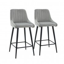 Kane Bar Stool (Set of 2) - Grey Fabric Black Legs