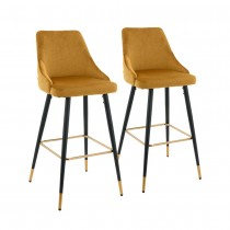 Ancor Bar Stool (Set of 2) - Yellow Fabric Black Golden Legs