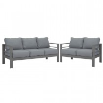 Paris 3 + 2 Seater Charcoal Aluminium Sofa Lounge Suite - Grey Cushion