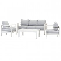 Paris 5 Seater White Aluminium Sofa Lounge Set - Light Grey Cushion