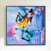 Framed Oil Painting Hand Painted Animals Pop Art Canvas - Butterfly (100cm x 100cm)