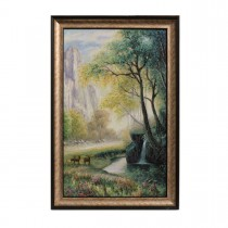 Framed Oil Painting Hand Painted Botanical Classic Canvas - Forest (80cm x 120cm)