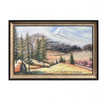 Framed Oil Painting Hand Painted Botanical Classic Canvas - Snowy Mountains (120cm x 80cm)