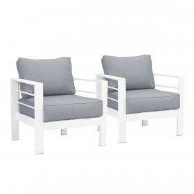 Paris Single Seater White Aluminium Outdoor Sofa Lounge with Arms - Grey Cushion (Set of 2)