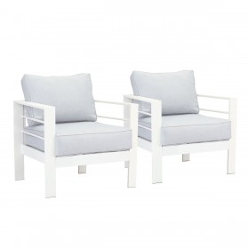 Paris Single Seater Aluminium Outdoor Sofa Lounge with Arms - Light Grey Cushion (Set of 2)