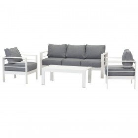 Paris 5 Seater White Aluminium Sofa Lounge Set - Grey Cushion
