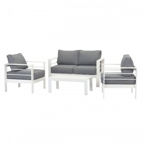Paris 4 Piece White Aluminium Sofa Lounge Set - Grey Cushion