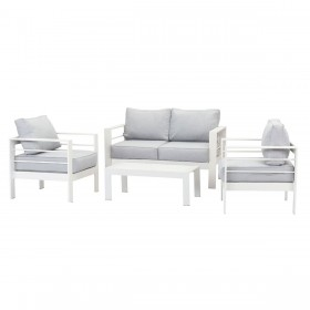 Paris 4 Piece White Aluminium Sofa Lounge Set - Light Grey Cushion