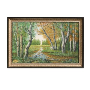 Framed Oil Painting Hand Painted Botanical Classic Canvas - Forest (120cm x 80cm)